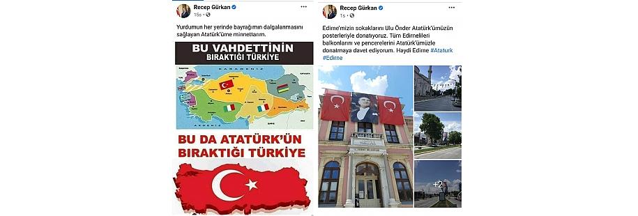 EDİRNE'NİN SOKAKLARI ATATÜRK POSTERLERİYLE DONATILDI