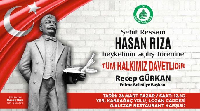 ŞEHİT RESSAM HASAN RIZA'NIN HEYKELİ AÇILACAK